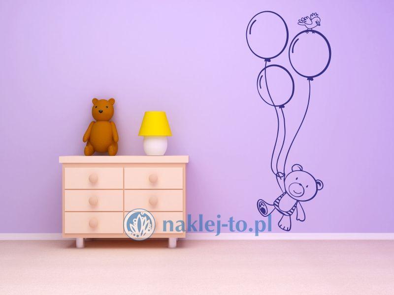 naklejka dla dzieci miś i baloniki naklejka