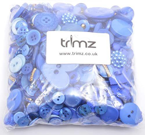 Trimz różne kształty i rozmiary guziki, niebieski, 250 g
