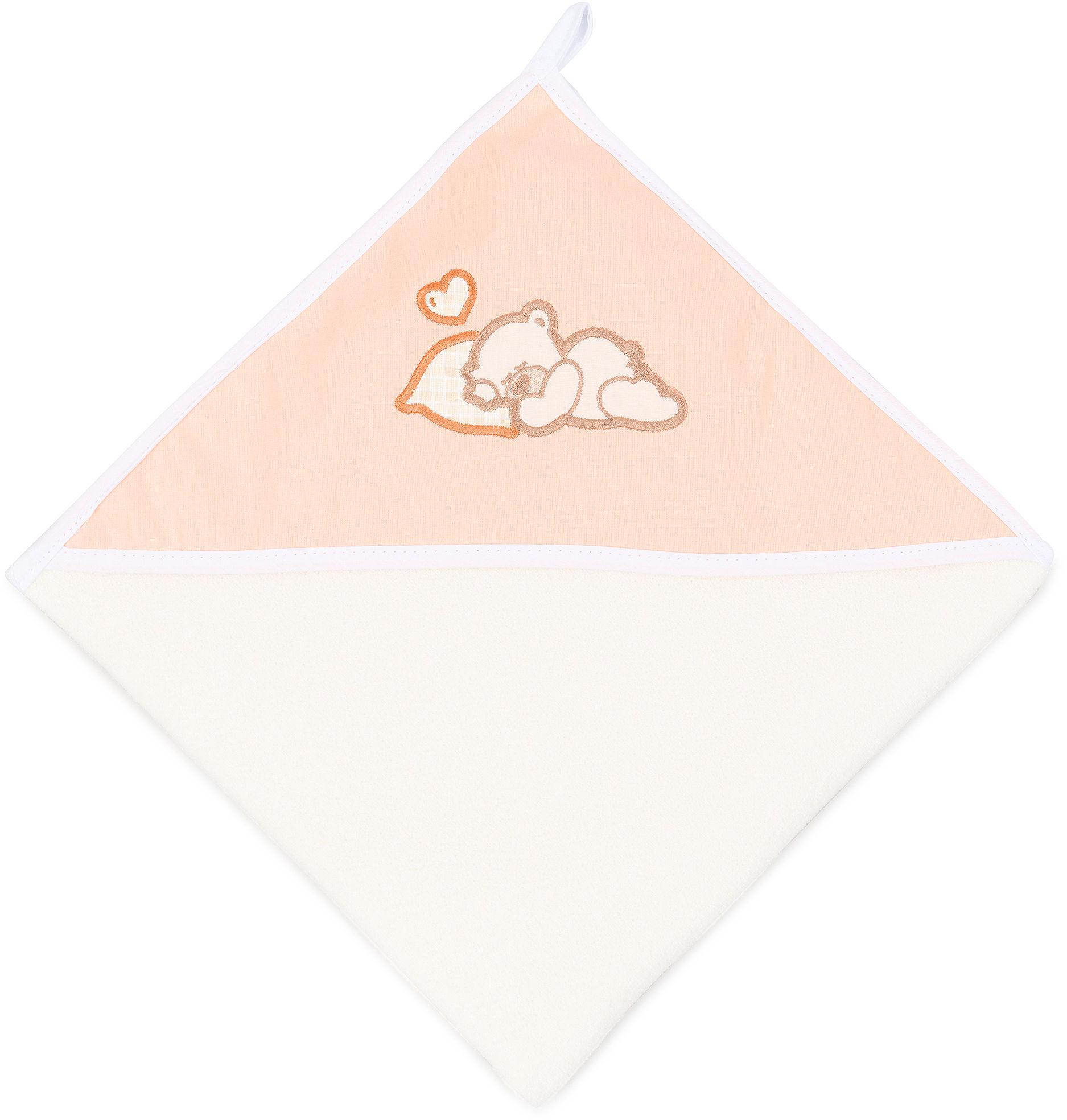 MAMO-TATO Okrycie Kąpielowe z haftem Śpiący miś brzoskwiniowy / ecru