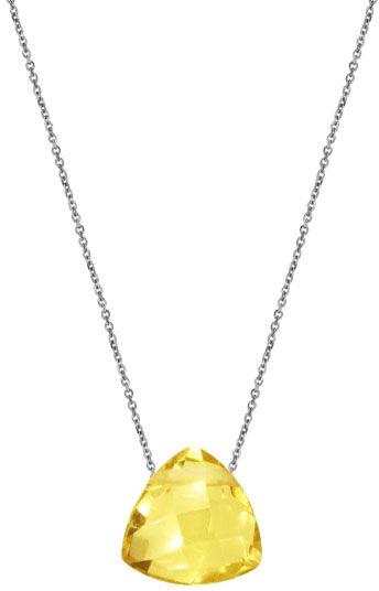 Srebrny naszyjnik 925 trójkąt kamień cytryn