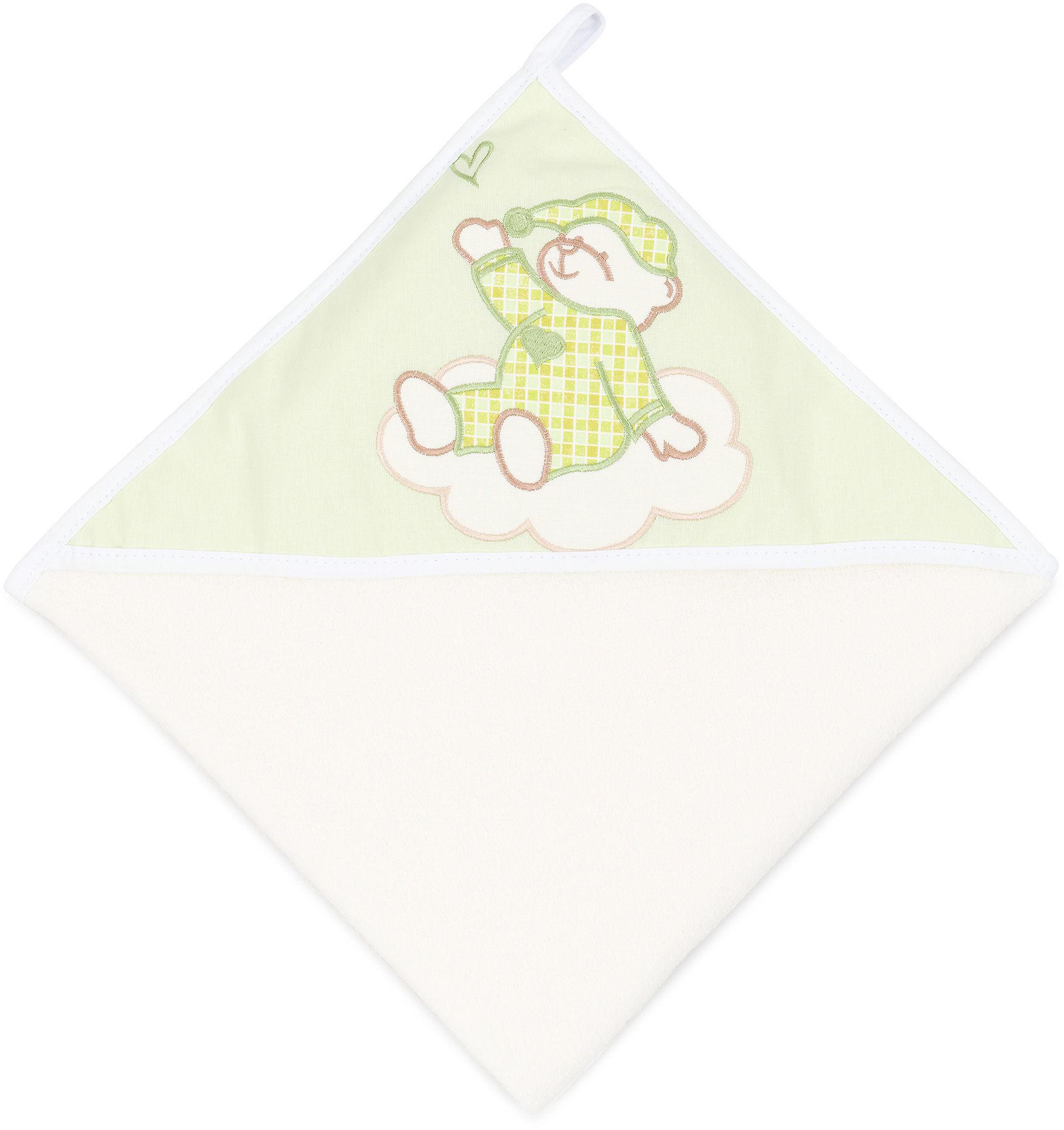 MAMO-TATO Okrycie Kąpielowe z haftem Śpioch na chmurce w zieleni / ecru