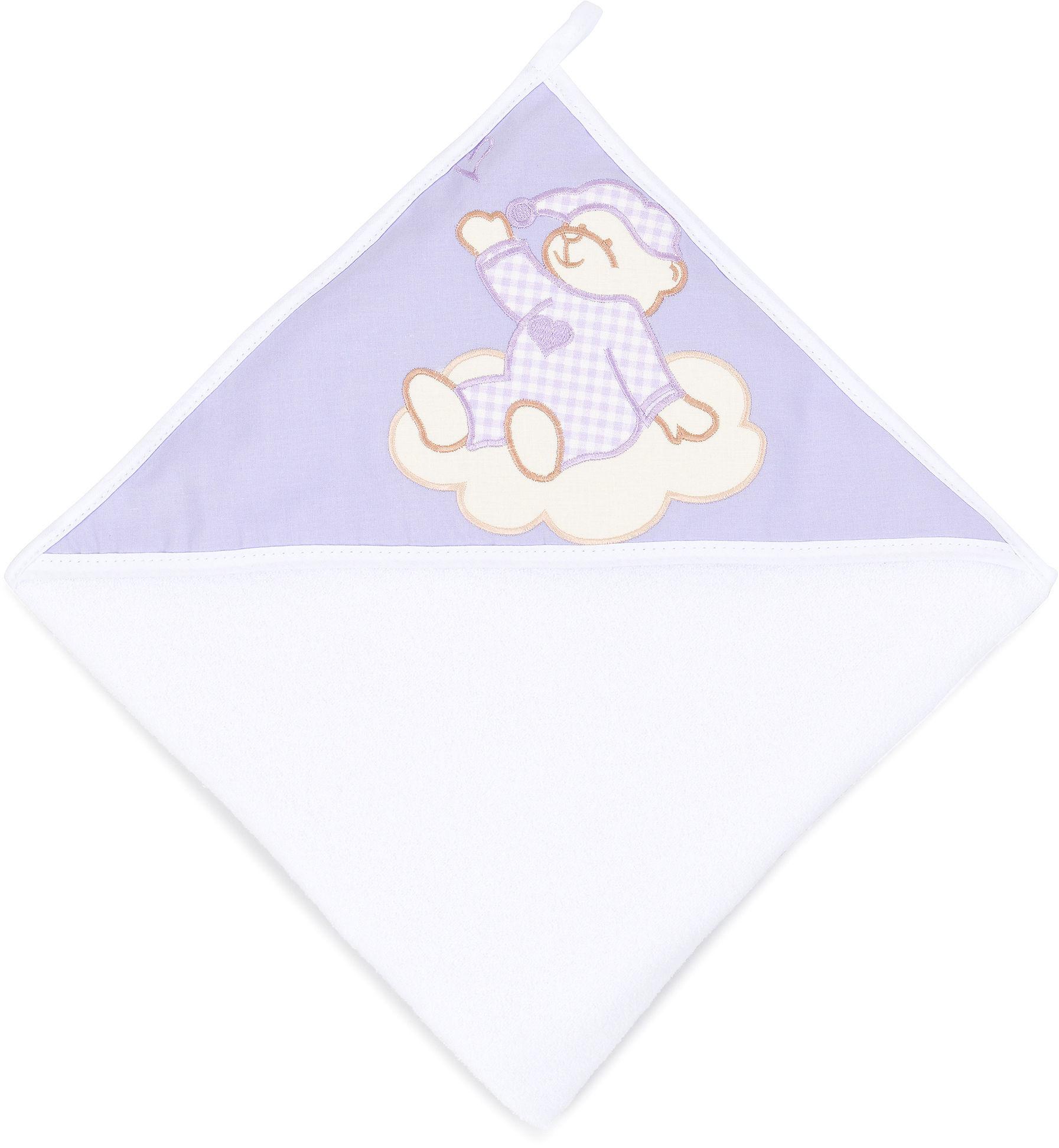 MAMO-TATO Okrycie Kąpielowe z haftem Śpioch na chmurce lawendowy / biały