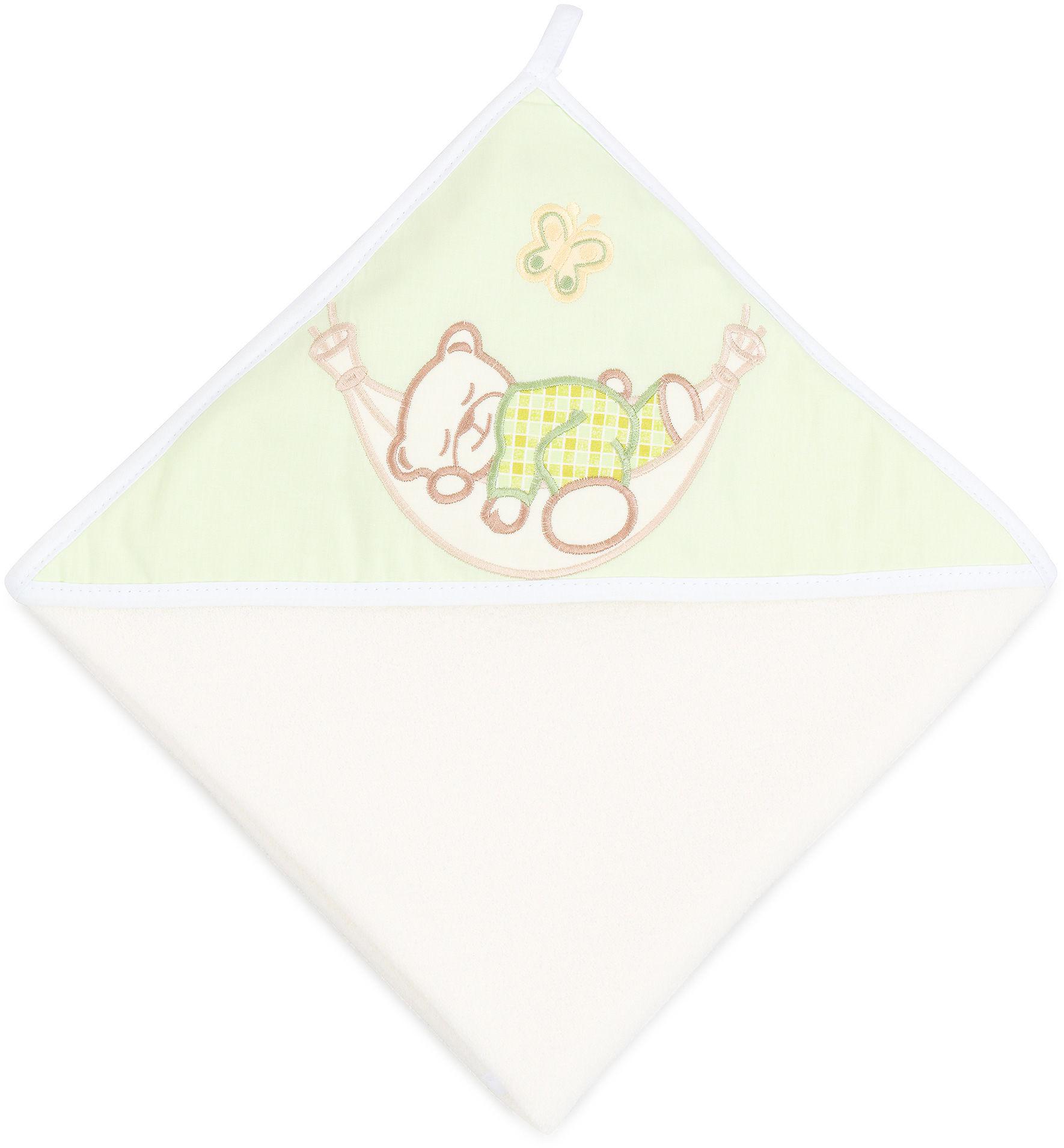 MAMO-TATO Okrycie Kąpielowe z haftem Śpioch w hamaku w zieleni / ecru