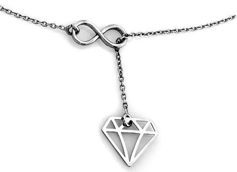 Srebrny naszyjnik 925 nieskończoność diamencik 1,98 g