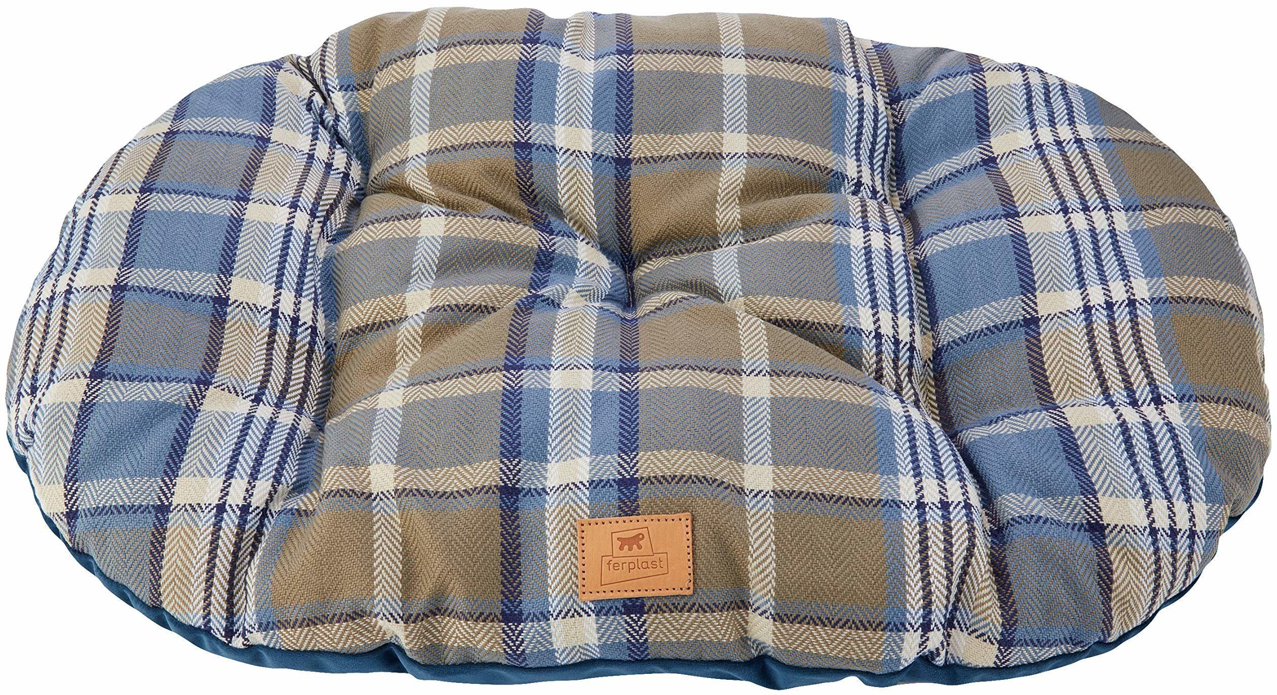 Wyściełana poduszka dla psów i kotów SCOTT 65/6, dwustronna, szkocki wzór, miękki aksamit, nadaje się do prania, kolor niebieski