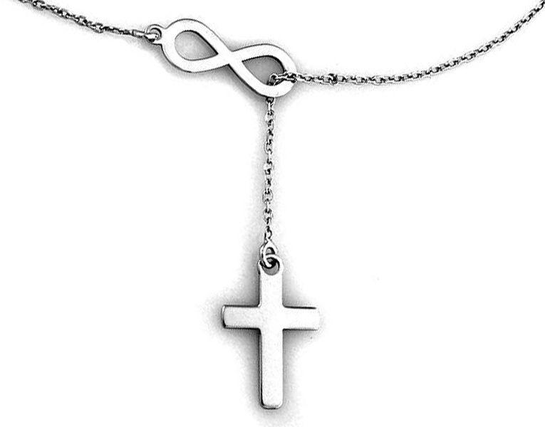 Srebrny naszyjnik 925 krawatka nieskończoność z krzyżem 2,17 g