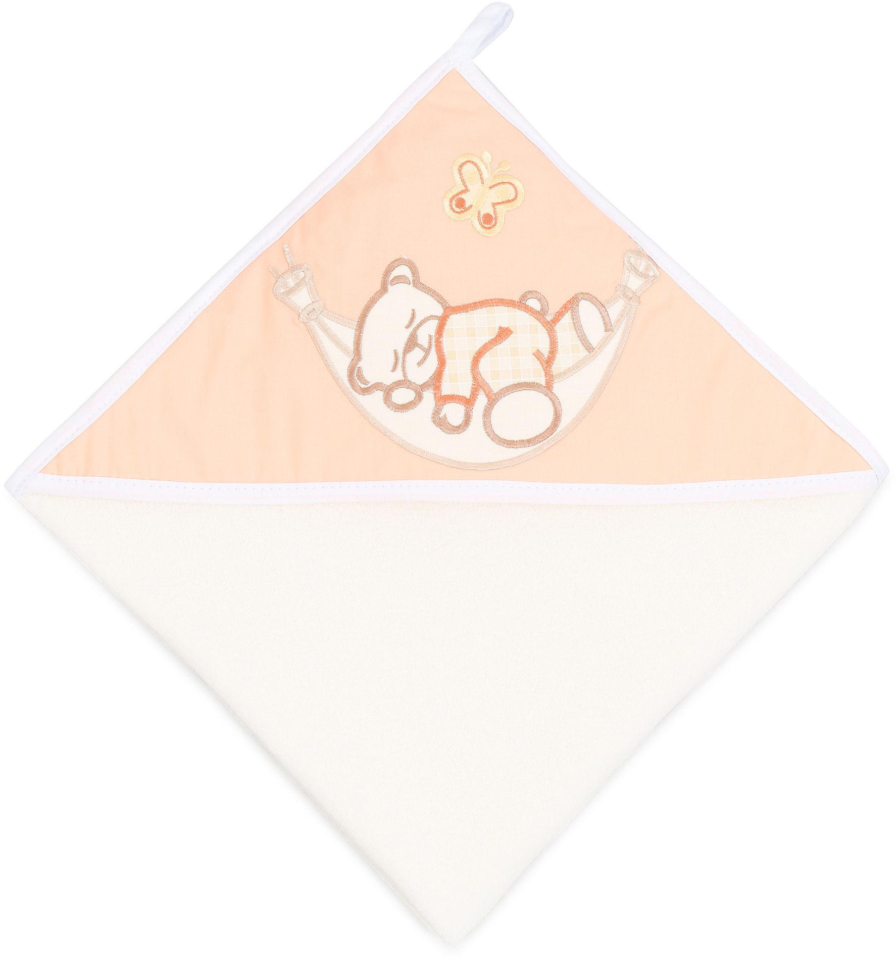 MAMO-TATO Okrycie Kąpielowe z haftem Śpioch w hamaku brzoskwiniowy / ecru
