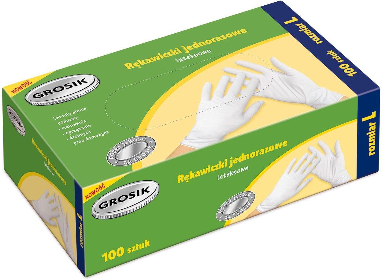 Grosik Rękawiczki lateksowe L /100szt