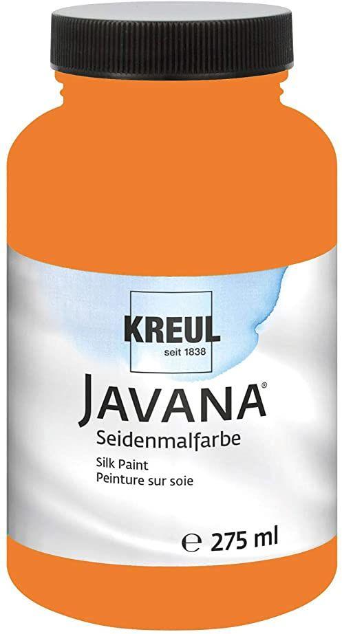 Kreul 8146-275 - Javana farba do malowania jedwabiu 275 ml, jaskrawy pomarańczowy, wysoko pigmentowany i błyszczący kolor na bazie wody, o płynnym charakterze, wnika głęboko w włókna