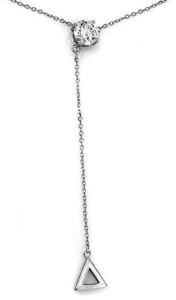 Srebrny naszyjnik 925 zawieszka trójkąt cyrkonia 2,57 g