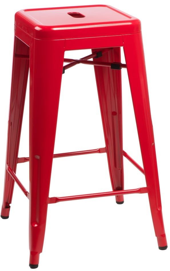 D2 Stołek barowy Paris 66cm czerwony inspirowany Tolix