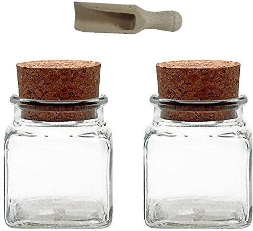 Viva-Haushaltswaren 6 szklanych pojemników 150 ml z korkowymi zatyczkami na przyprawy, sól, prezenty itp. i drewniana gałka do przypraw, szkło, przezroczyste, 120 ml