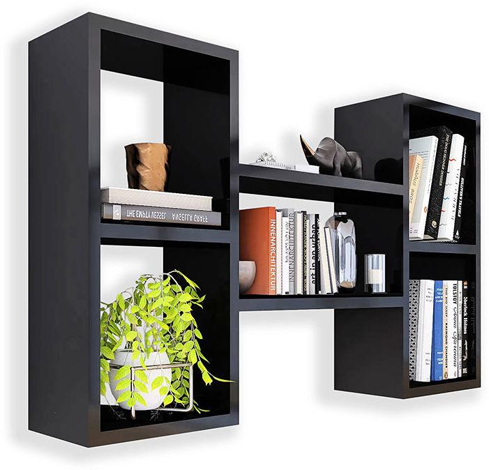 Czarna wisząca półka na książki - Calmo 2X