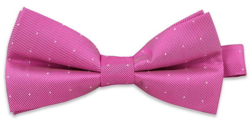 Różowa Elegancka Mucha w Białe Kropki -EM Mens Accessories- Męska MUEMACS02222