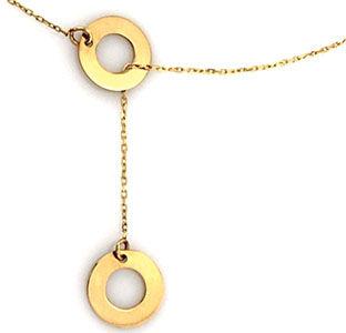 Złoty naszyjnik 333 krawatka ringi kółeczka