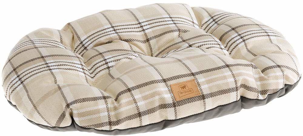 Ferplast kot i pies wyściełana poduszka Scott 45/2, dwustronna, tartan, miękki aksamit, zmywalna, brązowa, XS