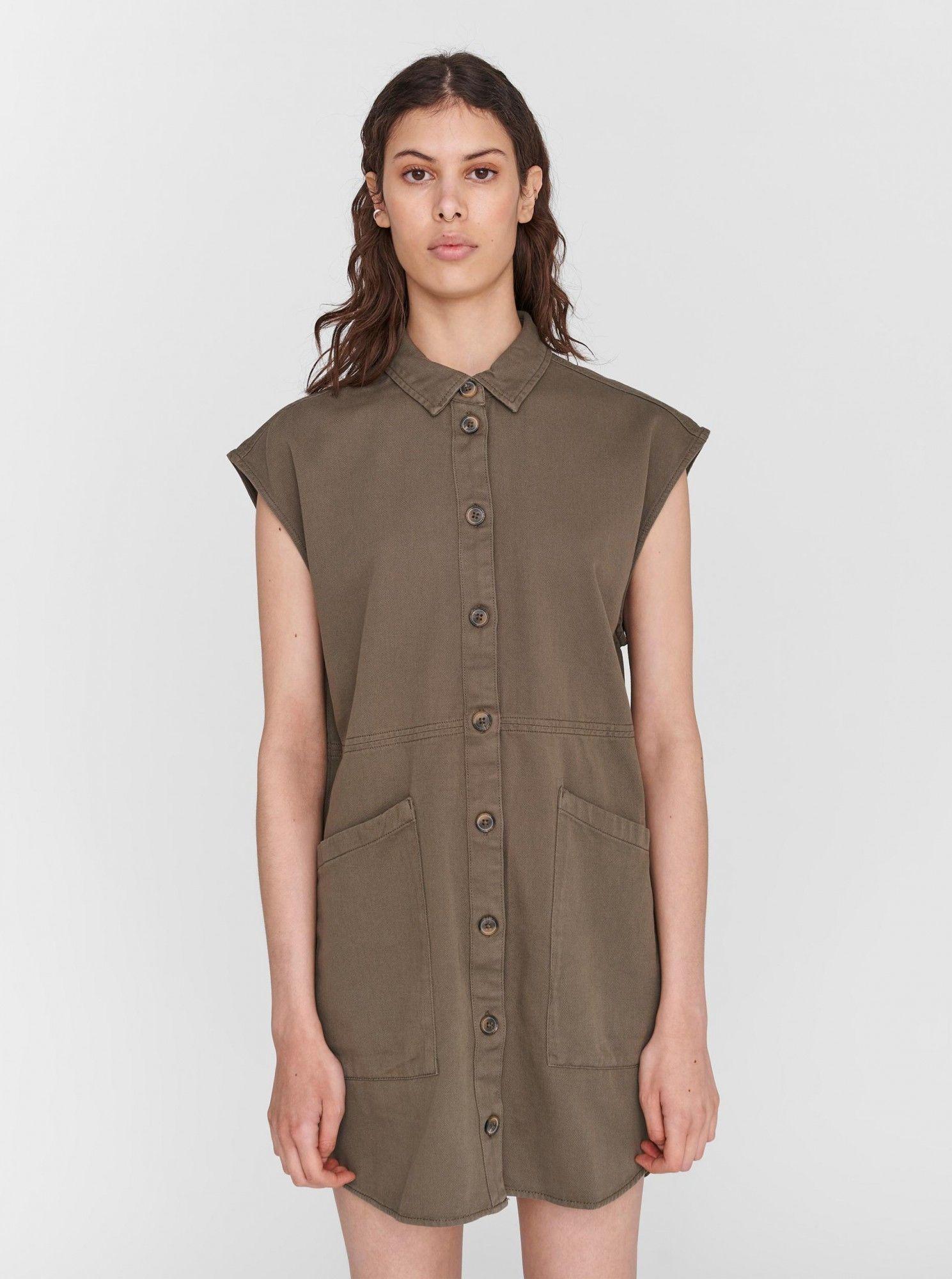 Noisy May khaki sukienka koszulowa Alma z kieszeniami