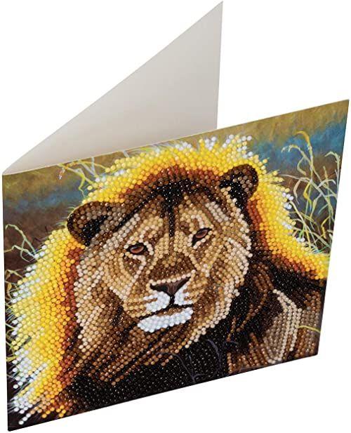 Crystal Art Resting Lion Crystal Art Card Kit 18 x 18 cm
