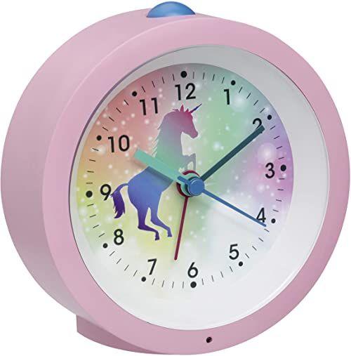 TFA Dostmann Analogowy budzik dziecięcy jednorożec, 60.1033.12, z motywem konia, z cichym mechanizmem zegarowym, alarm budzika i oświetlenie, różowy, (dł.) 105 x (szer.) 41 x (wys.) 105 mm