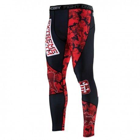 Extreme Hobby legginsy MMA męskie sportowe Red Warrior