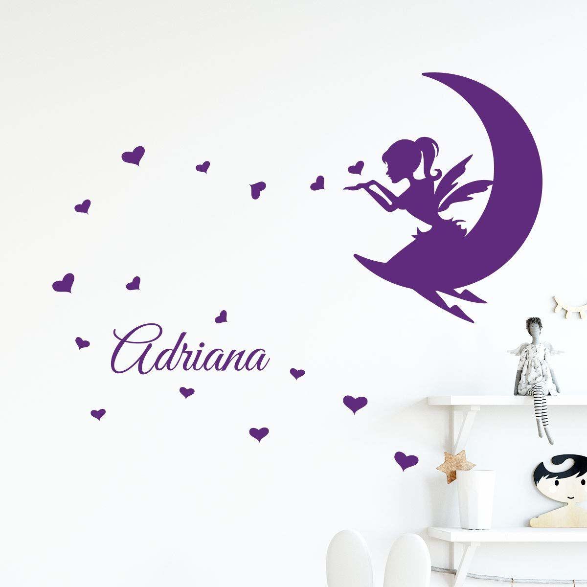 Spersonalizowane naklejki z imieniem tatuaż ścienny wróżka księżyc pokój dziecięcy 2 arkusze 30 x 20 cm i 60 x 25 cm liliowy