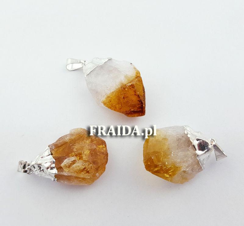 Cytryn surowy kryształ (wisior w oprawie)