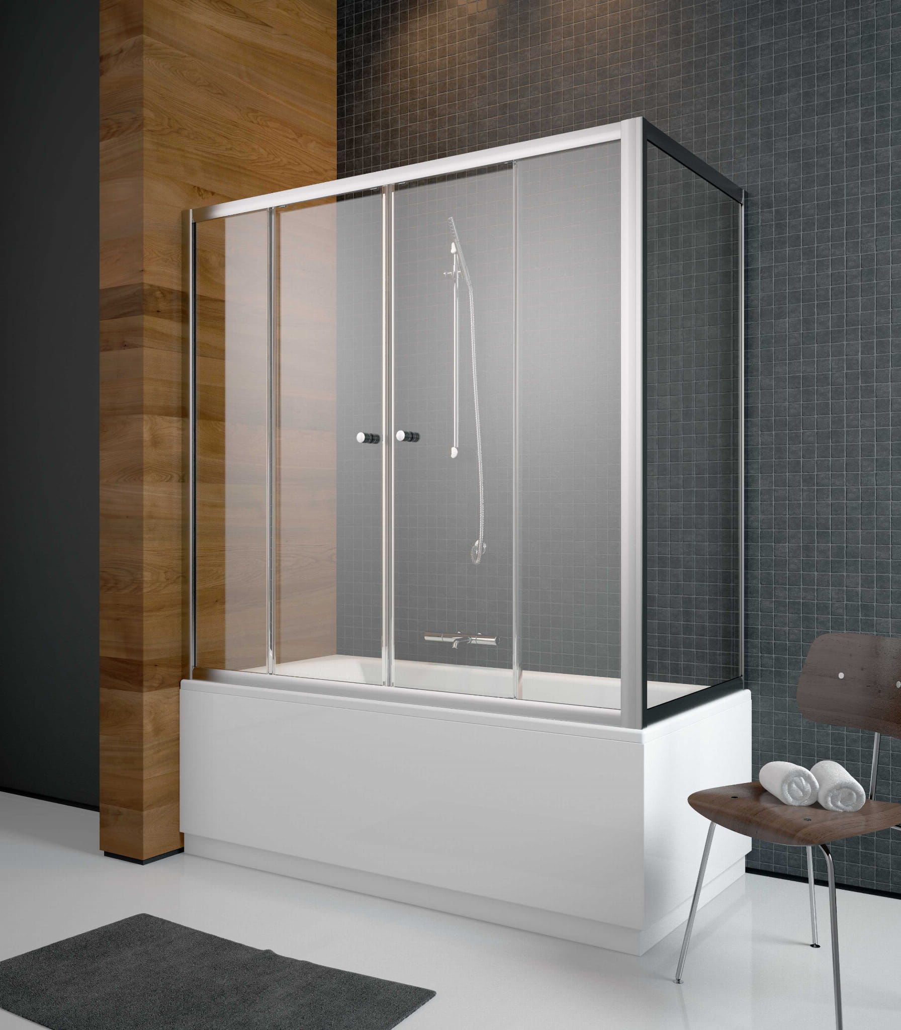Radaway zabudowa nawannowa Vesta DWD+S 180 x 80, szkło przejrzyste, wys. 150 cm 203180-01/204080-01