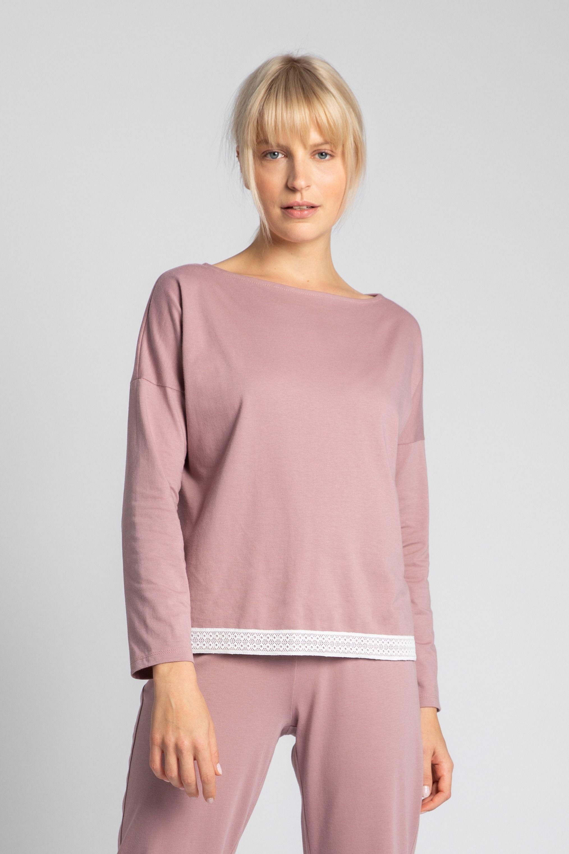 Bluzka od piżamy wykończona koronką - wrzosowa