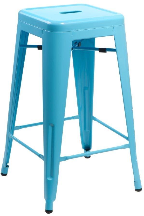 D2 Stołek barowy Paris 66cm niebieski inspirowany Tolix