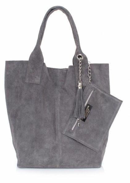 Shopperbag Skóra naturalna Zamszowa Genuine Leather szara
