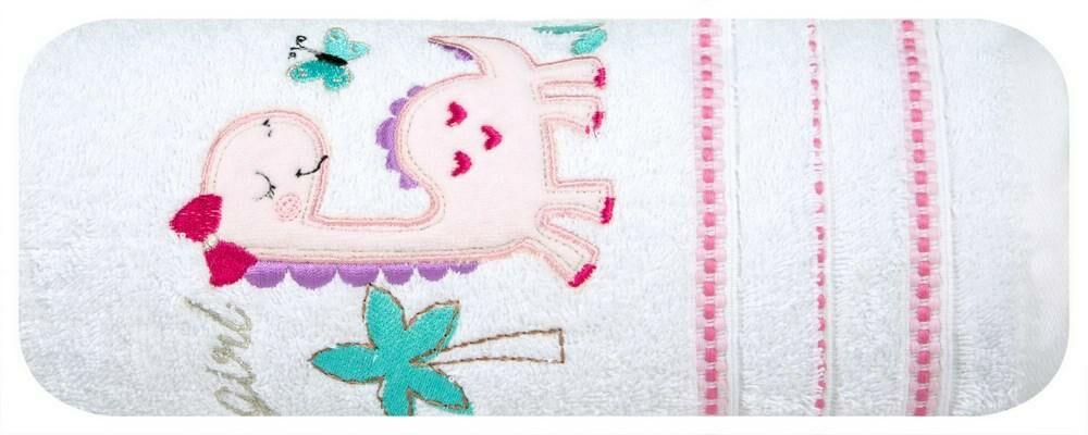 Ręcznik dziecięcy 75x75 Baby 29 biały różowy dinozaur 450g/m2 Eurofirany