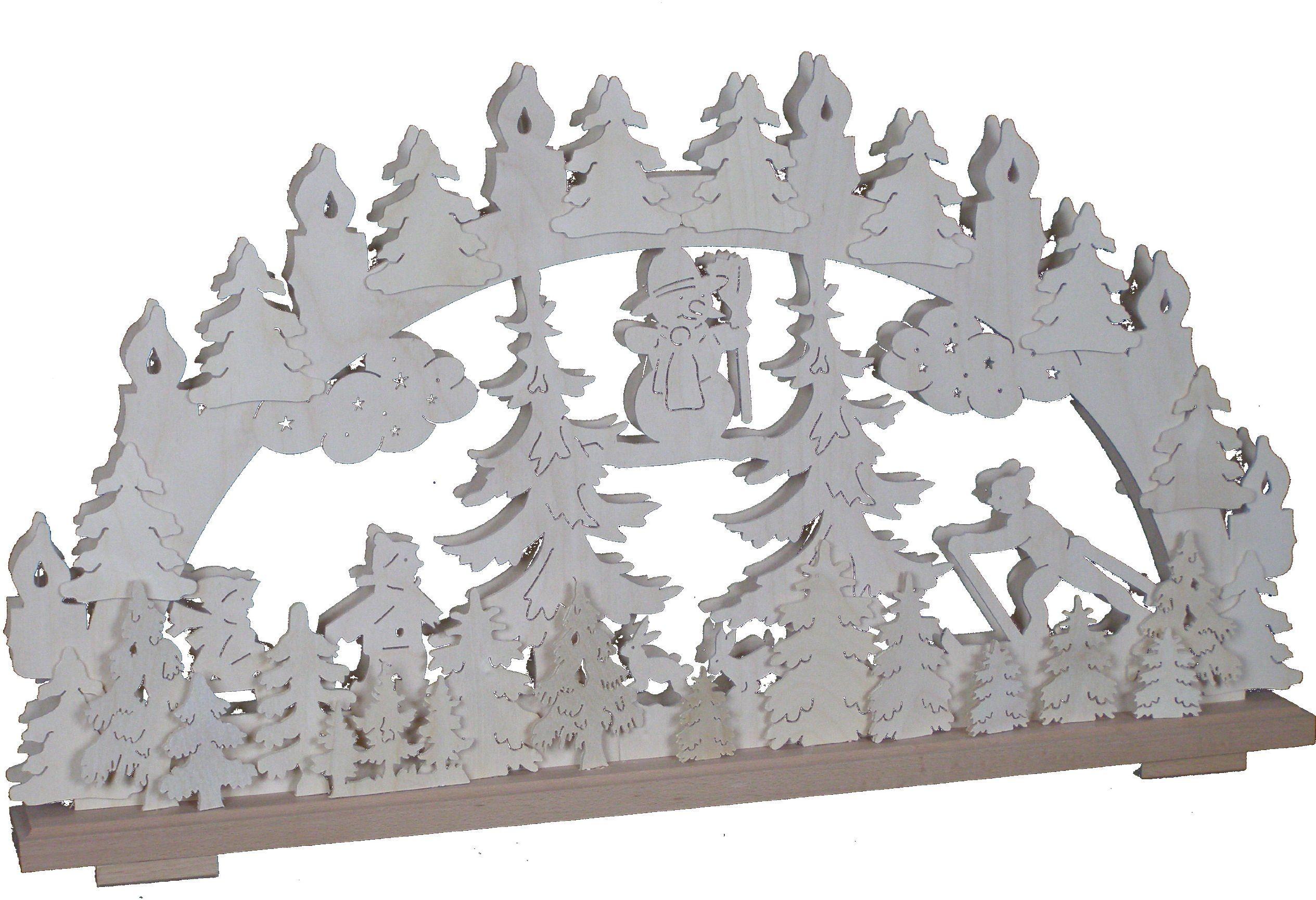 SchwibboLa 3-108 Rudawy podwójnie podświetlany świecznik łukowy z certyfikatem 3-108, 70 x 42 cm