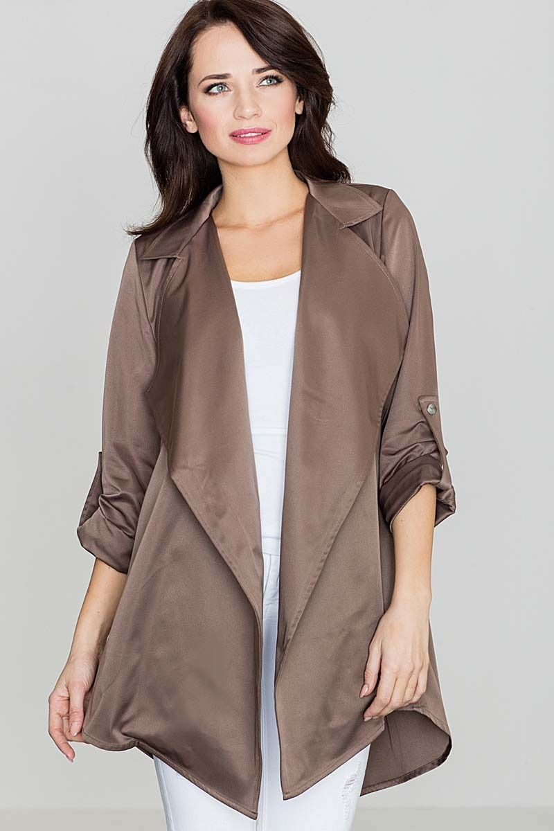 Beżowy luźny krótki płaszcz bez zapięcia