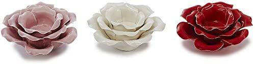 Sunny Toys świecznik porcelanowy, czerwony, biały, różowy, 13 x 13 x 6 cm, 3 sztuki