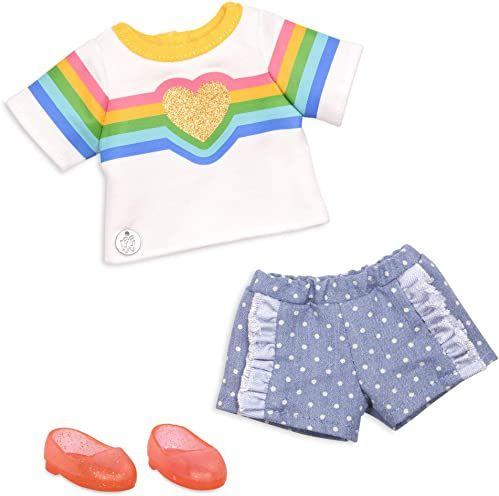Glitter Girls GG50139Z Battat - tęczowy do Twojego serca modny strój dla lalek 35,6 cm (14 cali) ubrania i akcesoria dla dzieci w wieku od 3 lat - zabawki dla dzieci
