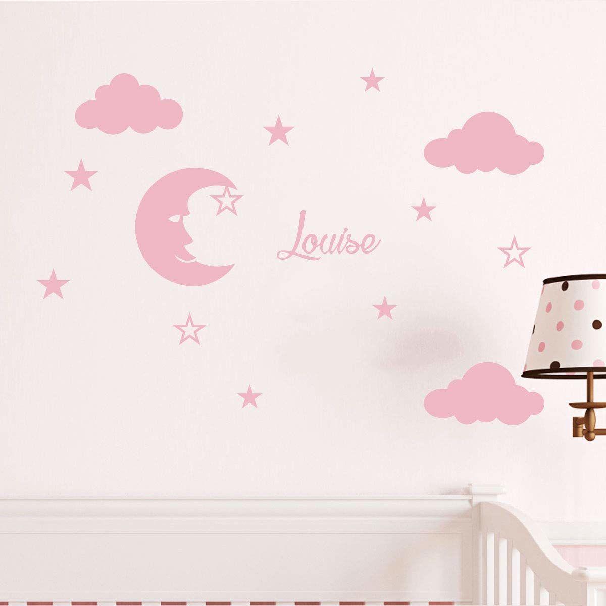 Naklejka z imieniem księżyc i chmury dekoracja ścienna do pokoju dziecięcego 2 arkusze o wymiarach 25 x 30 cm i 40 x 30 cm spersonalizowana naklejka prenom w kolorze różowym proszku