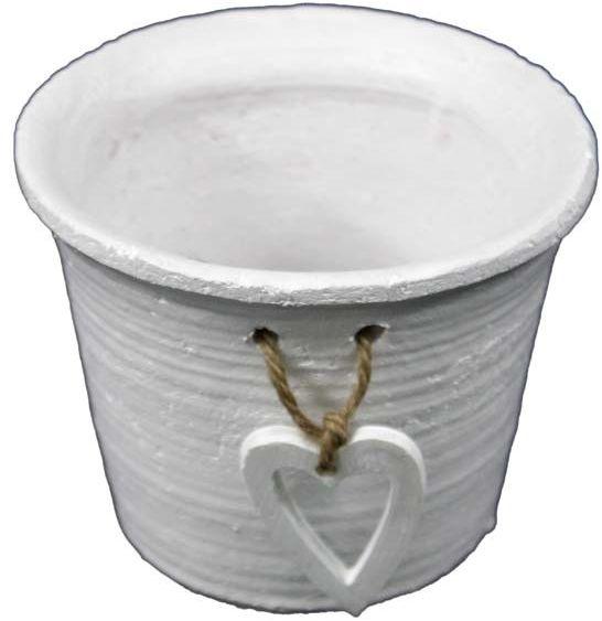 Ceramiczna biała doniczka z sercem 7,5x9 cm