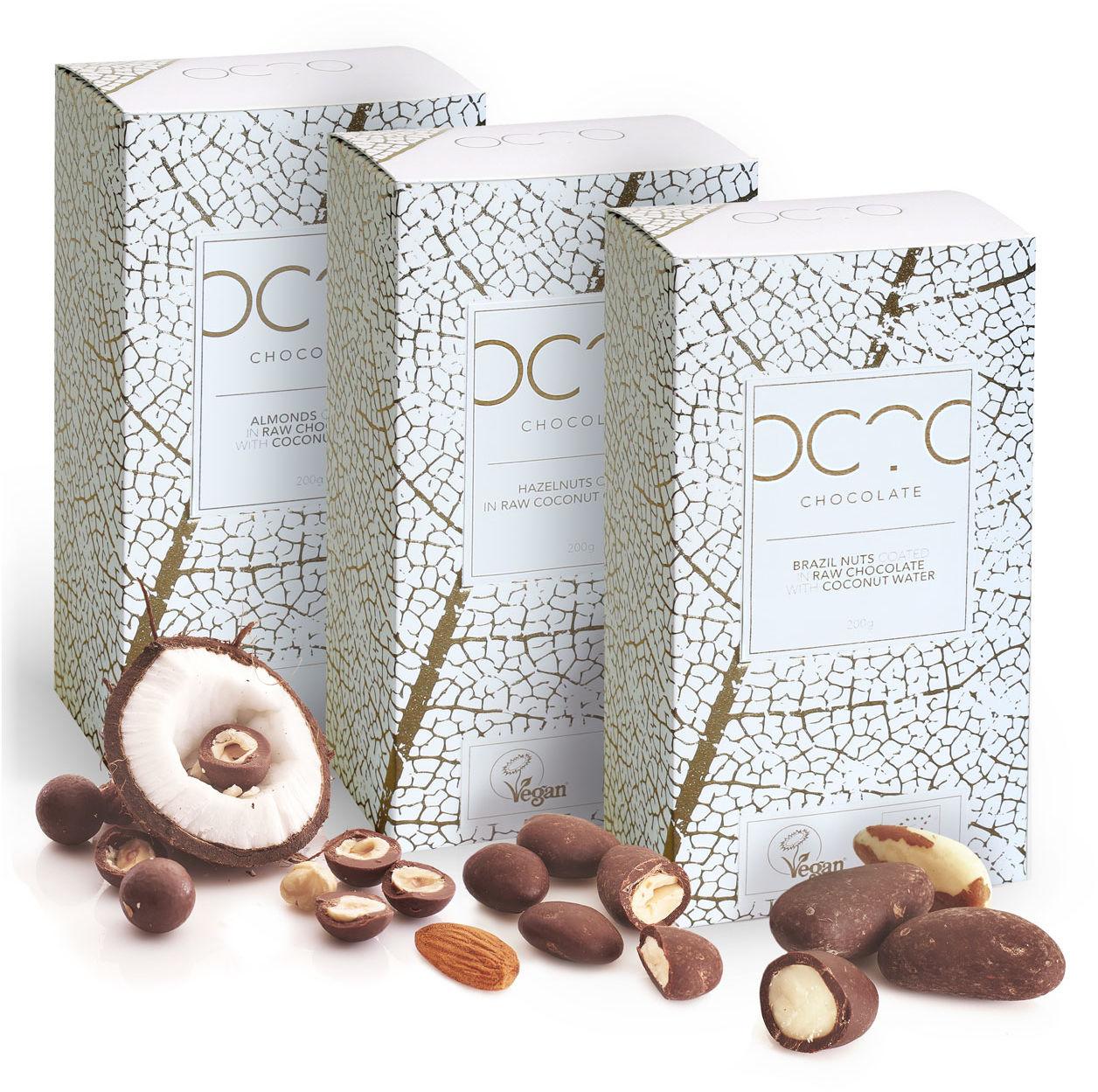 Zestaw prezentowy - orzechy w delikatnej czekoladzie 3 x 200g - BIO