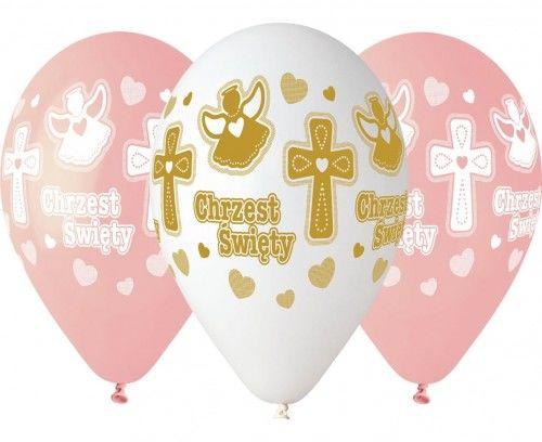 """Balony 13"""" na Chrzest Święty dziewczynki"""