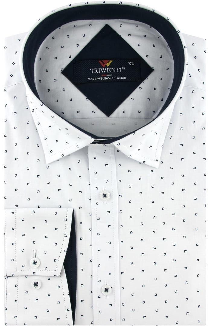Koszula Męska Elegancka Wizytowa do garnituru biała we wzorki z długim rękawem w kroju SLIM FIT Triwenti B226