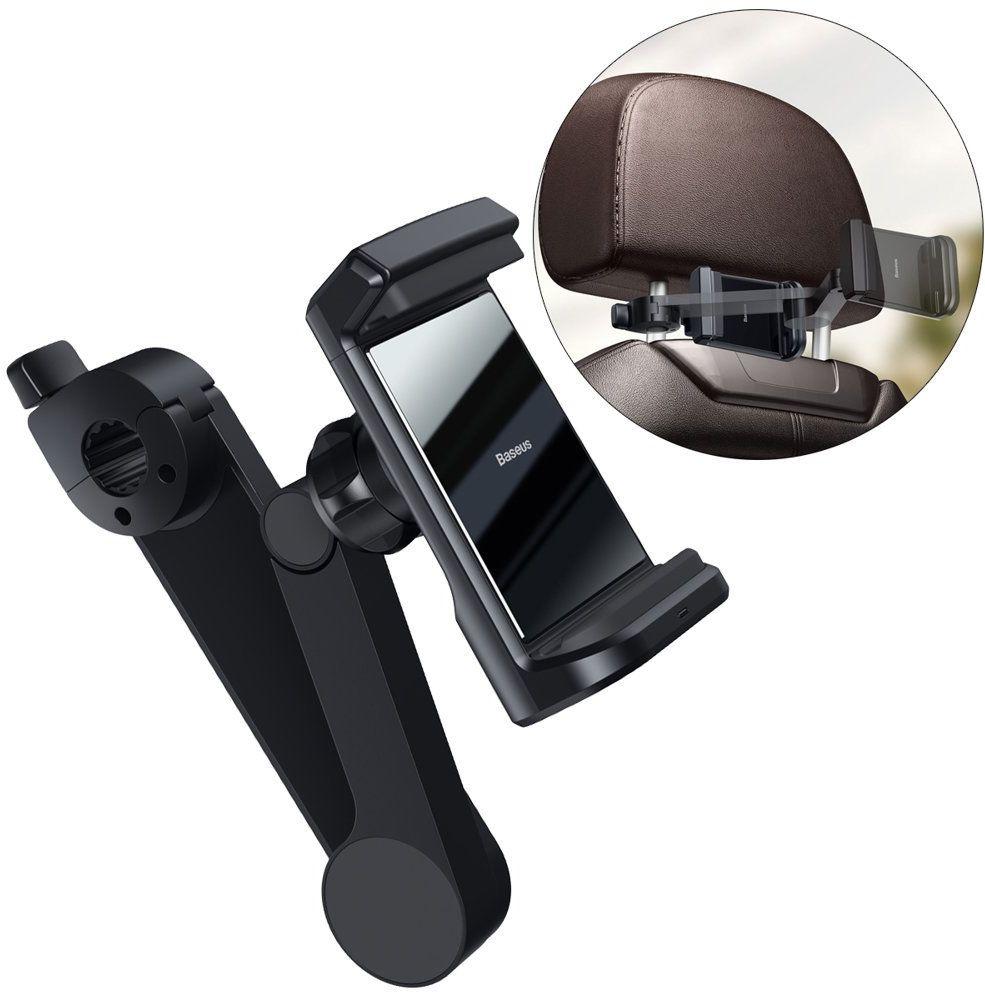 Baseus samochodowy uchwyt do telefonu na zagłówek z wbudowaną ładowarką bezprzewodową Qi 15 W czarny (WXHZ-01)