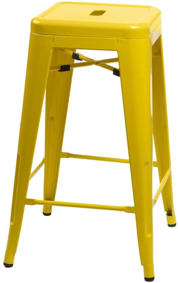 D2 Stołek barowy Paris 66cm żółty inspirowany Tolix