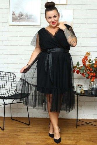 Sukienka wieczorowa tiulowa z falbanką ASIA czarna