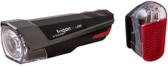 Zestaw lampek SPANNINGA TRIGON 15 przód 80 lumenów USB czarna, tył PYRO 20 lumenów USB czarna SNG-999155,8715117021634