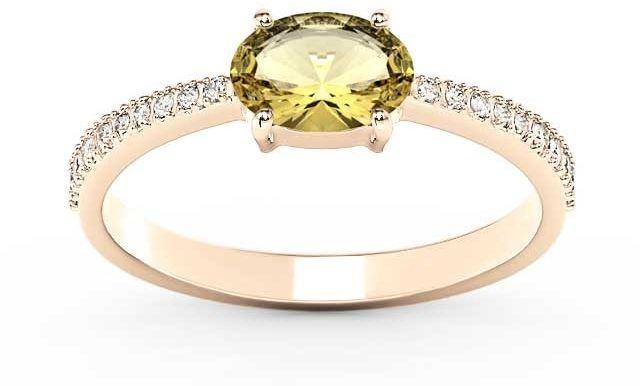 Pierścionek z różowego złota z cytrynem i diamentami bp-58p