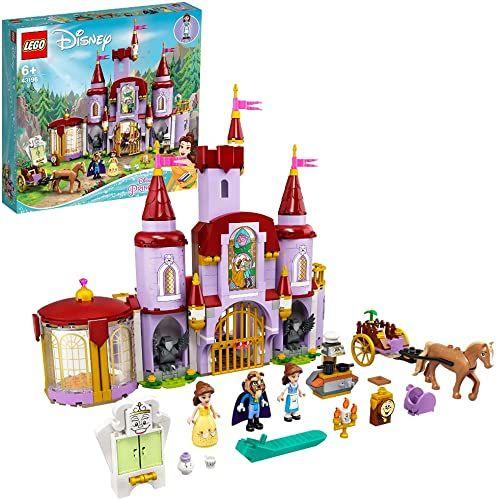 LEGO 43196 Disney Belle and the Beast''s Castle zabawka budująca z filmu Piękno i Bestia z księżniczką i księciem mini lalkami