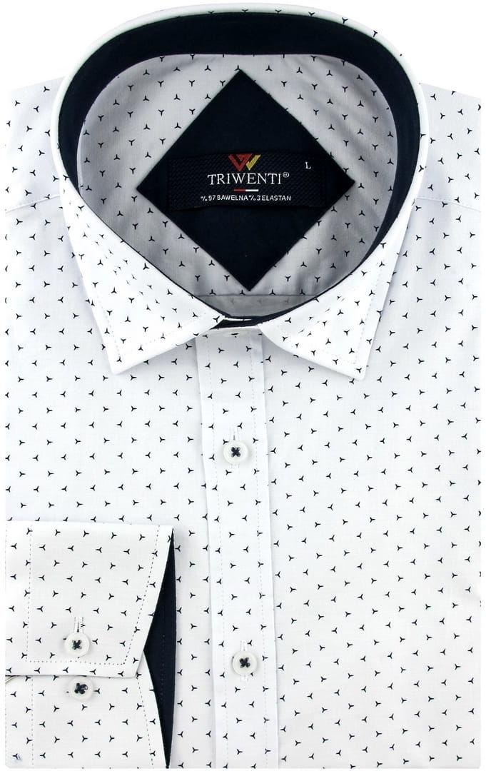 Koszula Męska Elegancka Wizytowa do garnituru biała we wzorki z długim rękawem w kroju SLIM FIT Triwenti B232