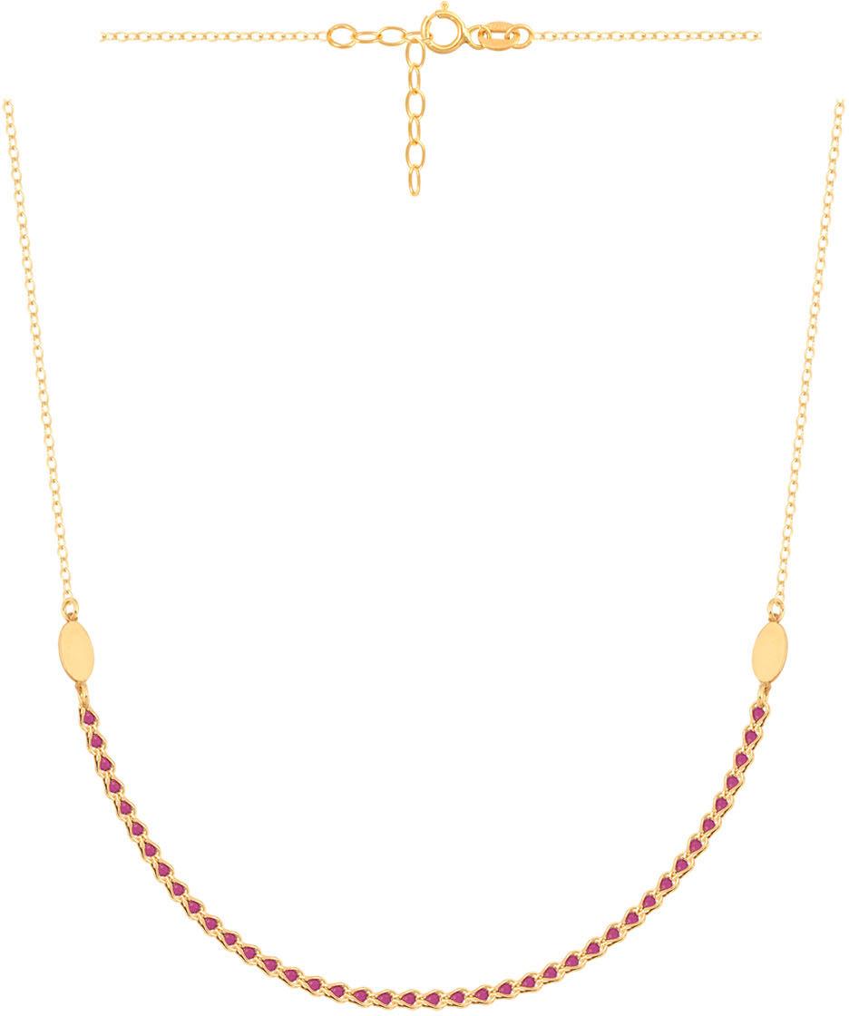 Złoty naszyjnik 585 rubinowe kamienie zawieszki 2,70 g