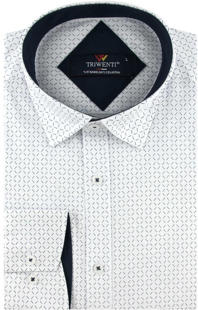 Koszula Męska Elegancka Wizytowa do garnituru biała we wzorki z długim rękawem w kroju SLIM FIT Triwenti B233