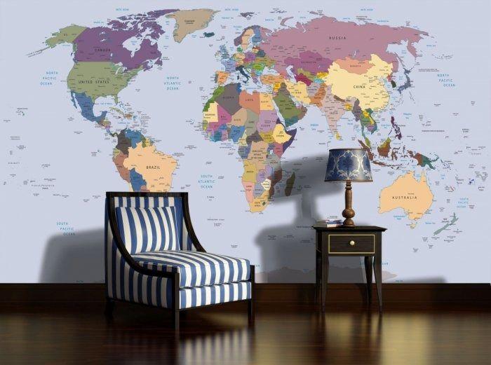 Fototapeta polityczna mapa świata flizelinowa xl 24h